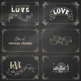 Vector set of chalk vintage frames on blackboard background. Stock Photo