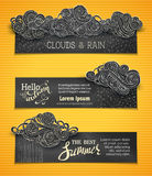 Vector set of chalk weather horizontal banners. Stock Photography