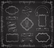 Vector Set of Chalkboard Banners Stock Photo