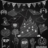 Vector Set of Chalkboard Halloween Elements Stock Images