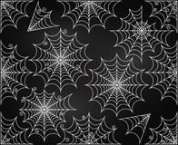 Vector Set of Chalkboard Style Cute and Creepy Spiderwebs Stock Photos