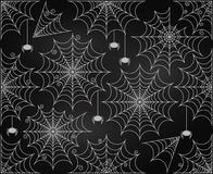 Vector Set of Chalkboard Style Cute and Creepy Spiderwebs Royalty Free Stock Photography
