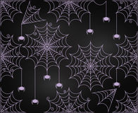 Vector Set of Chalkboard Style Cute and Creepy Spiderwebs Royalty Free Stock Photos