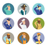 Vector set of characters of different professions. African-american pirate scratching head. Thoughtful pirate scratching his head. Puzzled pirate scratching his Royalty Free Stock Image