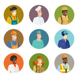 Vector set of characters of different professions. African smiling constructor in hard hat. Portrait of smiling constructor. Set of character avatars of Stock Photos