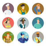 Vector set of characters of different professions. Asian mechanic singing to the microphone. Mechanic singing with closed eyes. Happy mechanic singing to the Stock Photo