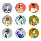 Vector set of characters of different professions. Caucasian firefighter thinking. Firefighter thinking with hand on chin. Firefighter thinking and looking to Stock Image