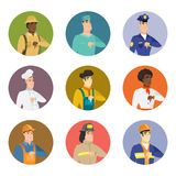 Vector set of characters of different professions. Disappointed caucasian policeman with thumb down. Sad policeman showing thumb down. Young policeman with Stock Image