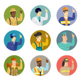 Vector set of characters of different professions. Surgeon pointing with his finger. Avatar of csucasian surgeon pointing finger up. Surgeon with finger Stock Photos