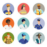 Vector set of characters of different professions. Young asian angry mechanic screaming. Avatar of angry mechanic yelling. Angry mechanic in workwear shouting Royalty Free Stock Photography