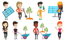 Vector set of characters on ecology issues. Stock Images
