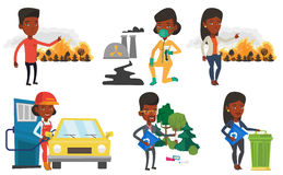 Vector set of characters on ecology issues. Stock Photography