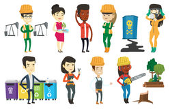 Vector set of characters on ecology issues. Royalty Free Stock Images