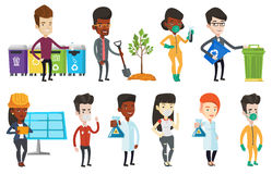 Vector set of characters on ecology issues. Stock Image
