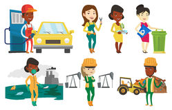 Vector set of characters on ecology issues. Royalty Free Stock Photos