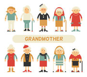 Vector set of characters in a flat style. Cartoon characters elderly. Grandmothers in different clothes and different styles Stock Photo