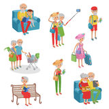 Vector set of characters in a flat style. Cartoon  elderly. Grandmothers grandfathers in different situation. Stock Photography