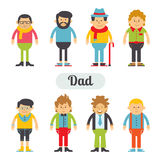 Vector set of characters in a flat style. Dad hipsters. Set father in fashionable clothes royalty free illustration