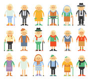 Vector set of characters in a flat style. Older people in different costumes. Grandparents in cartoon flat style Stock Image