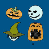 Vector set of characters for Halloween in cartoon style. Pumpkin Stock Photography