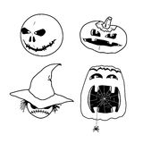 Vector set of characters for Halloween in cartoon style Stock Photos