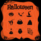 Vector set of characters and icons for Halloween in cartoon style. Stock Photos