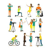 Vector set of characters, photo, video concept design elements, icons. Vector set of photographers taking photos, videographers, journalists making interview for Stock Images