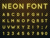 Neon, vector font. Vector set of characters in retro style. Neon font. Alphabet with glow effect. The letters and numbers in the style of techno Stock Images