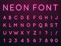 Neon, vector font. Vector set of characters in retro style. Neon font. Alphabet with glow effect. The letters and numbers in the style of techno Royalty Free Stock Photos