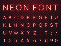 Neon, vector font. Vector set of characters in retro style. Neon font. Alphabet with glow effect. The letters and numbers in the style of techno Stock Photography