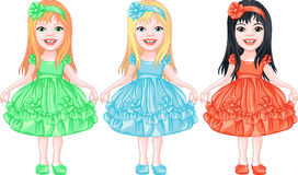 Vector Set Charming Little Girls In Fancy Dresses Royalty Free Stock Photography