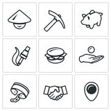 Vector Set of Cheap Labor Icons. Stock Image