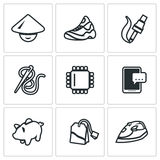 Vector Set of Cheap Labor Icons. Shoes, Electronics, Clothing industry, computer technology, smartphone, saving, tea Stock Photos