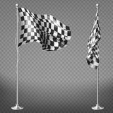 Vector set of checkered racing flags on poles. Vector realistic set of two racing flags on steel poles isolated on transparent background. Checkered waving Stock Illustration
