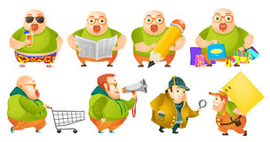 Vector set of cheerful fat man illustrations. Stock Images