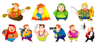 Vector set of cheerful fat man illustrations. Set of illustrations of cheerful fat man engaged in such hobbies as kayaking, travelling, fishing, painting Stock Image
