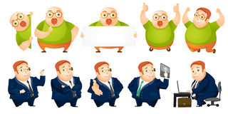 Vector set of cheerful fat man illustrations. Royalty Free Stock Photography