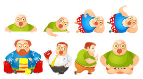 Vector set of cheerful fat man illustrations. Stock Image
