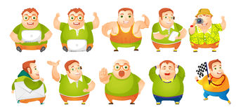 Vector set of cheerful fat man illustrations. Royalty Free Stock Photos