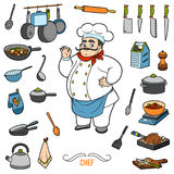Vector set with chef and objects for cooking. Cartoon sticker se Royalty Free Stock Photos