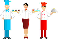 Vector set of chef and waiters, girls and men. Royalty Free Stock Image