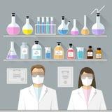 Vector set - chemical designer. Flat design Stock Image