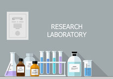 Vector set - Chemical Research Laboratory. Flat design Royalty Free Stock Photography