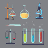 Vector set - chemical test. Flat design chemistry laboratory experiment equipment royalty free illustration