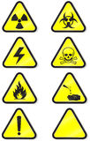 Vector set of chemical warning signs. Vector illustration set of different hazmat warning signs. All  objects and details are isolated and grouped. Colors and Royalty Free Stock Photography