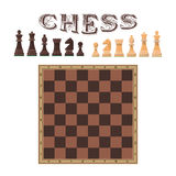 Vector set of chess figures. Piece and board. Icons design elements  on white background. Vector set of chess figures. Illustration of chess piece and board Royalty Free Stock Images