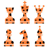 Vector set of chess figures. Red chessmen with dots  on the white background Royalty Free Stock Images