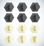 Vector Set: Chess Piece Dimensional Icons Stock Photography
