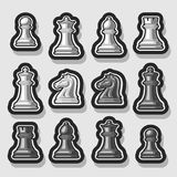 Vector set of Chess Pieces. Collection of 12 white and black  silver chess figures, classic king & queen, outline bishop and knight, monochrome rook & pawn Royalty Free Stock Photography