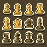 Vector set of Chess Pieces. Collection of yellow and brown isolated wooden chess figures, classic king & queen, outline bishop and knight, glossy rook & pawn Stock Photography